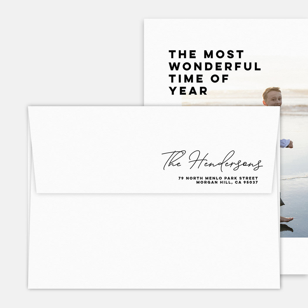Modern Spread Holiday Cards – Printed Return Address