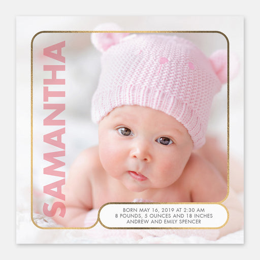 Modern Square Birth Announcements – Front View