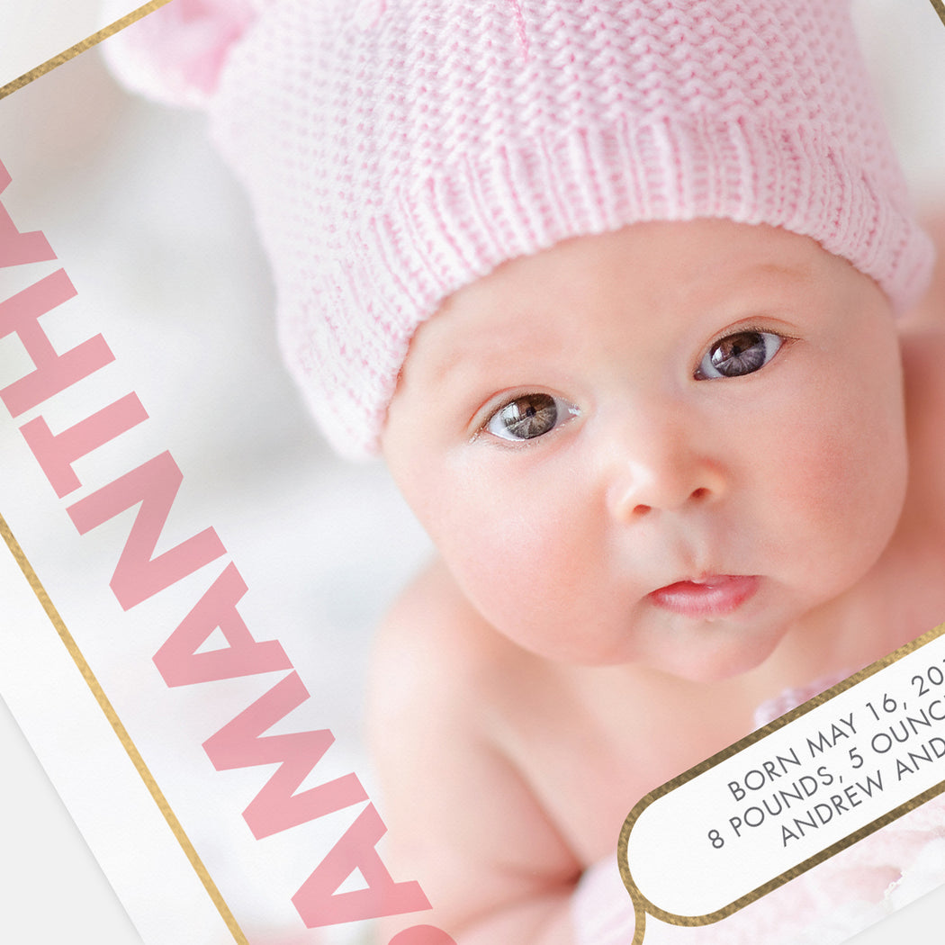Modern Square Birth Announcements – Detail View