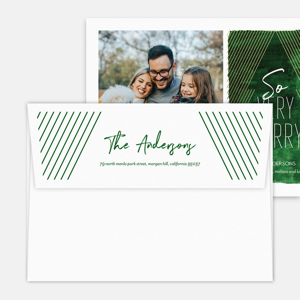 Modern Tree Holiday Cards – Printed Return Address