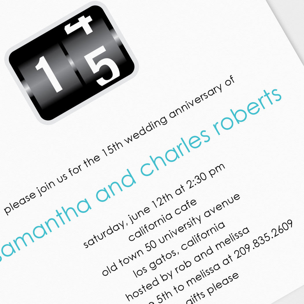 Odometer Reading Anniversary Party Invitations – Detail View