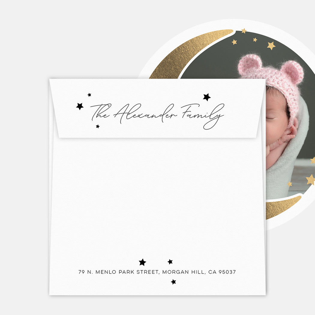 Over The Moon Birth Announcements – Printed Return Address