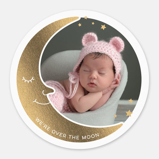 Over The Moon Birth Announcements – Front View