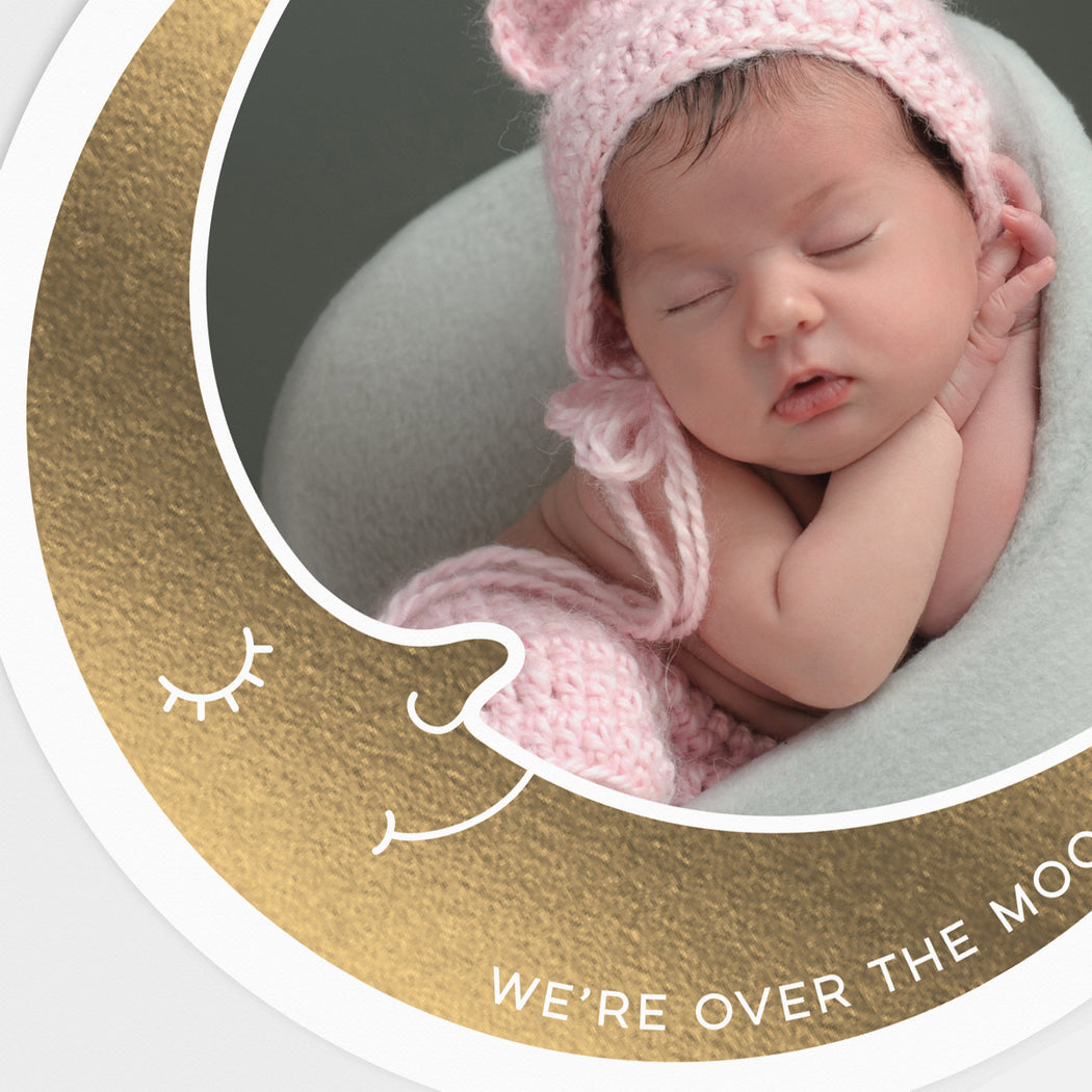 Over The Moon Birth Announcements – Front Detail View