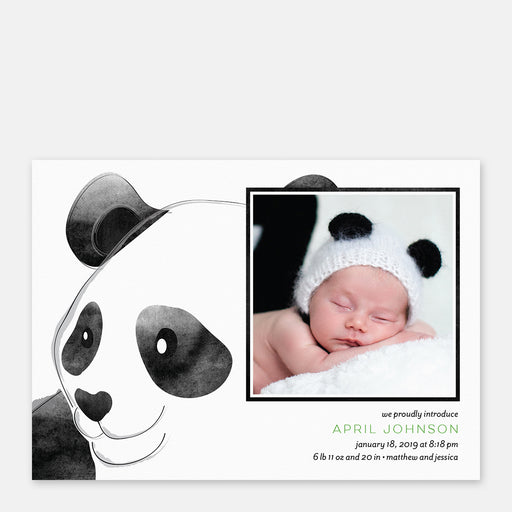 Panda Craze Birth Announcements – Front View
