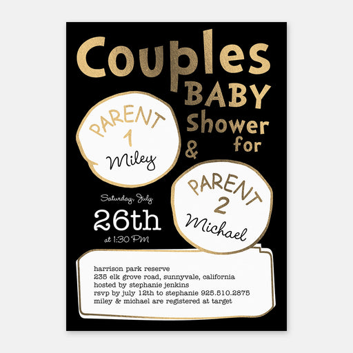 Parent 1 Parent 2 Baby Shower Invitations – Front View