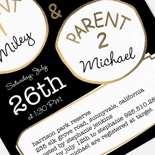 Parent 1 Parent 2 Baby Shower Invitations – Detail View
