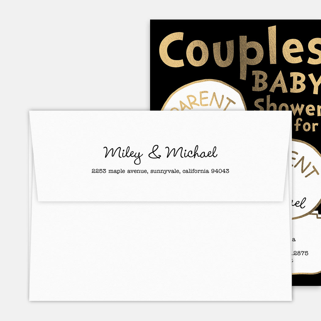 Parent 1 Parent 2 Baby Shower Invitations – Printed Return Address