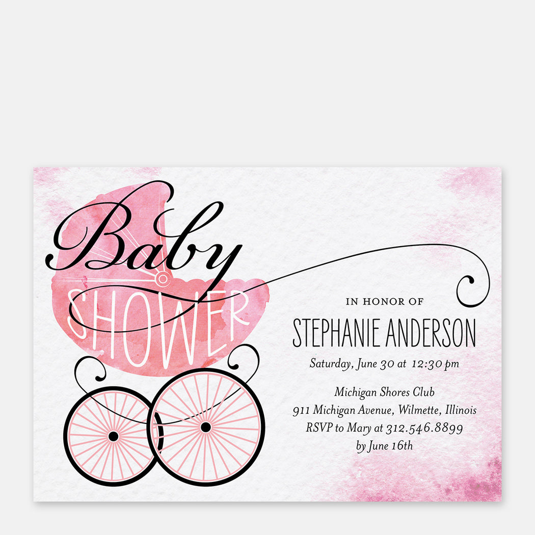 Pink Buggy Baby Shower Invitations – Front View