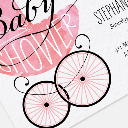 Pink Buggy Baby Shower Invitations – Detail View