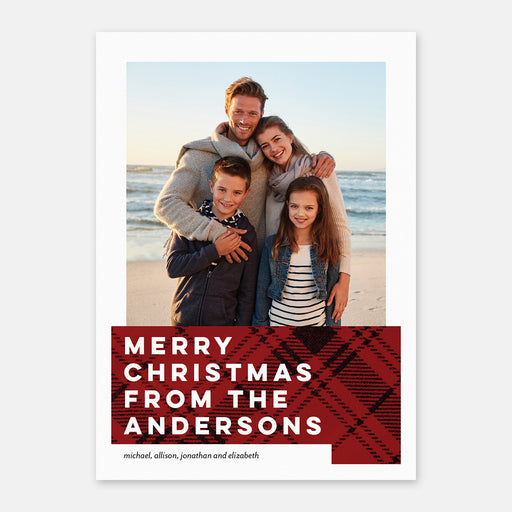 Plaid Blocking Photo Holiday Cards – Front View