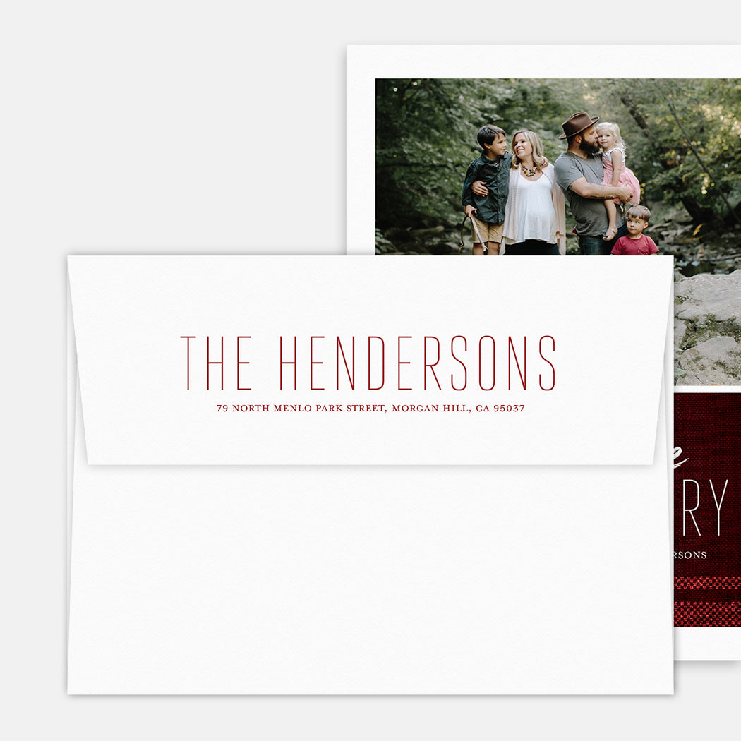 Perfect Plaid Holiday Cards – Printed Return Address