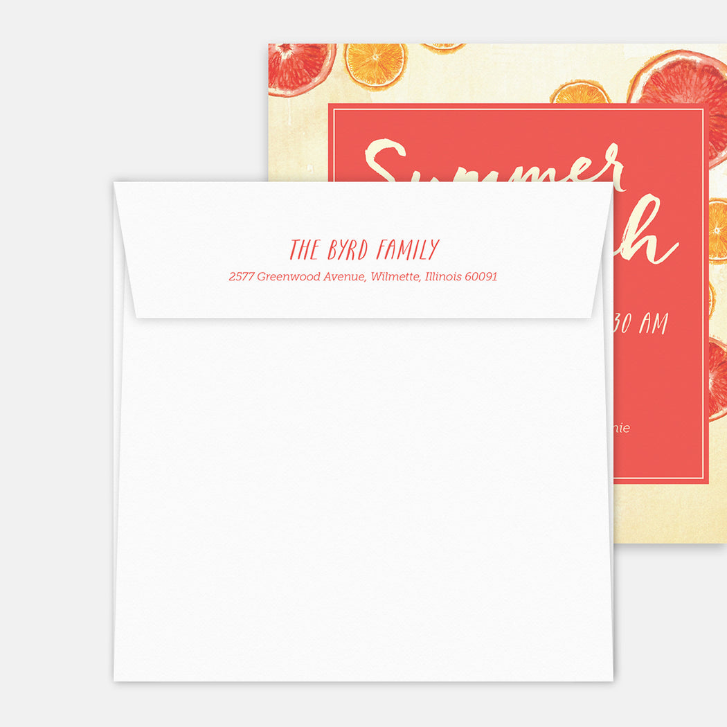 Summer Brunch Party Invitations – Printed Return Address