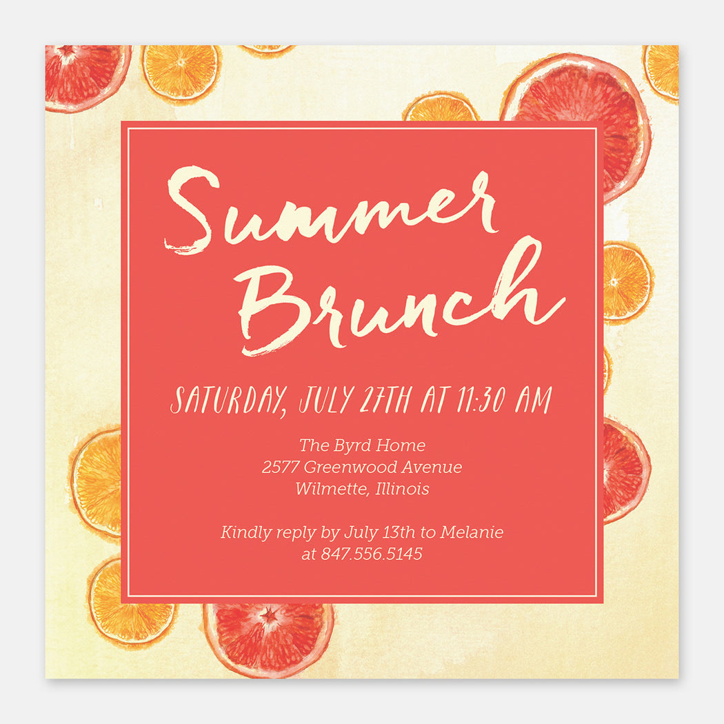 Summer Brunch Party Invitations – Front View