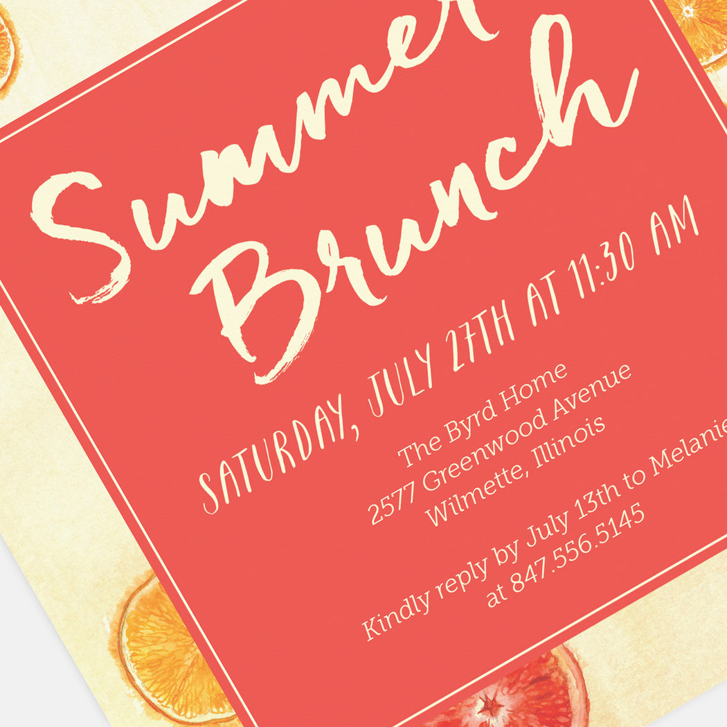 Summer Brunch Party Invitations – Detail View