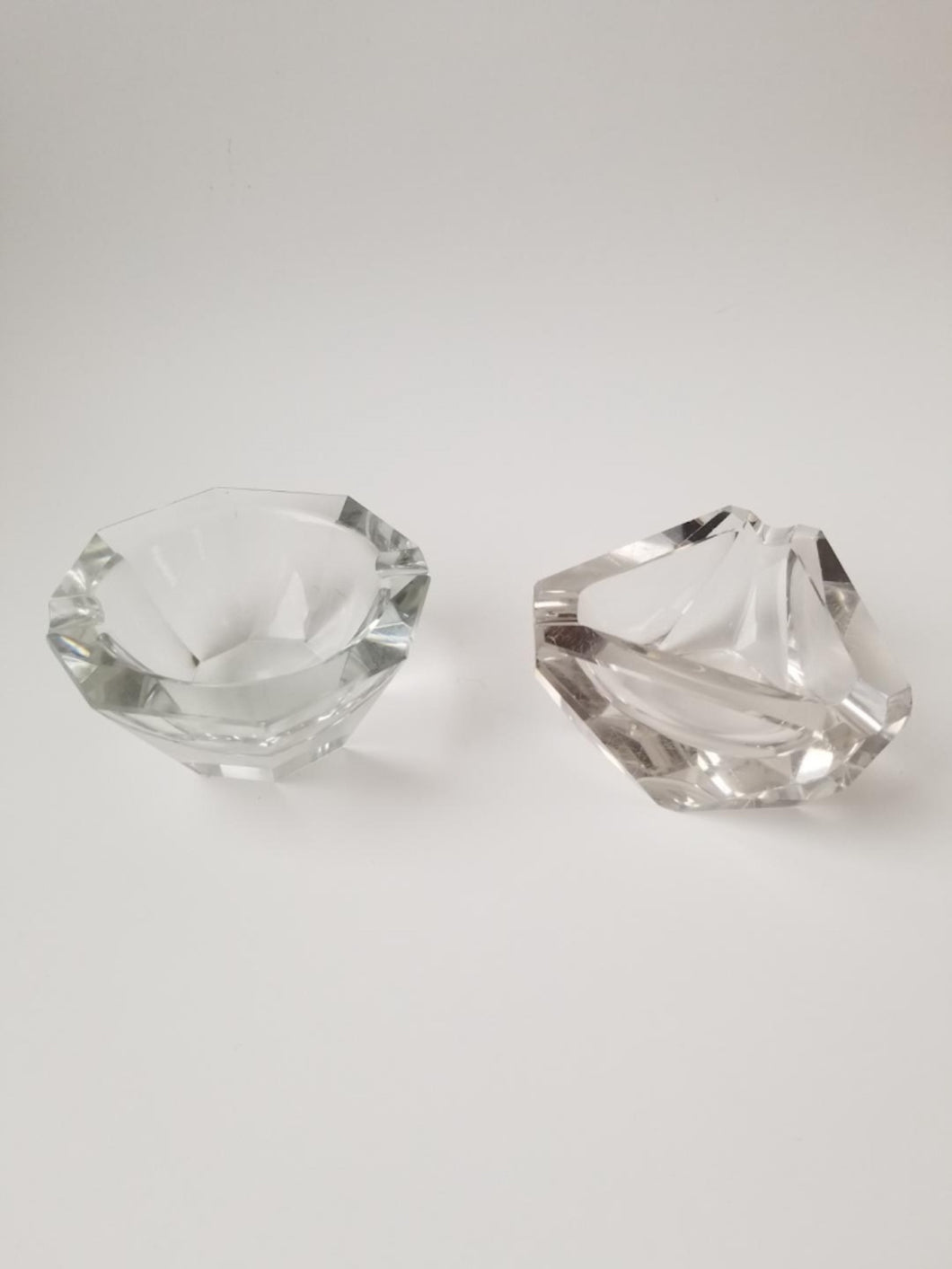His and Her Crystal Vintage Ashtrays - Fumée Galante