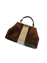 Vintage Roberta di Camerino two toned chocolate and cream-colored velvet and brown leather handbag