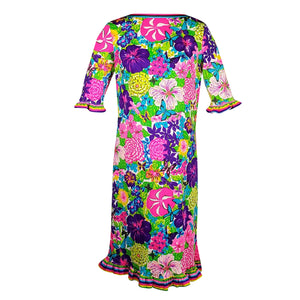 MR. DINO c.1970 Multicolor Floral and Striped Print Dress with Hawaiian Flare