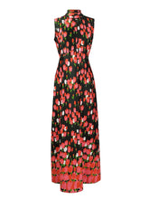 Vintage Early 1970's Emilio Borghese Maxi Sleeveless Hostess Dress with All-Over Tulips