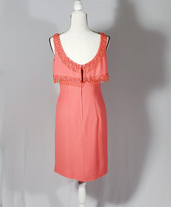 Vintage Lilli Diamond California Hand Jeweled Peach Cocktail Dress
