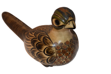 Long-tailed Vintage Ceramic Bird Signed by Carlos Villanueva