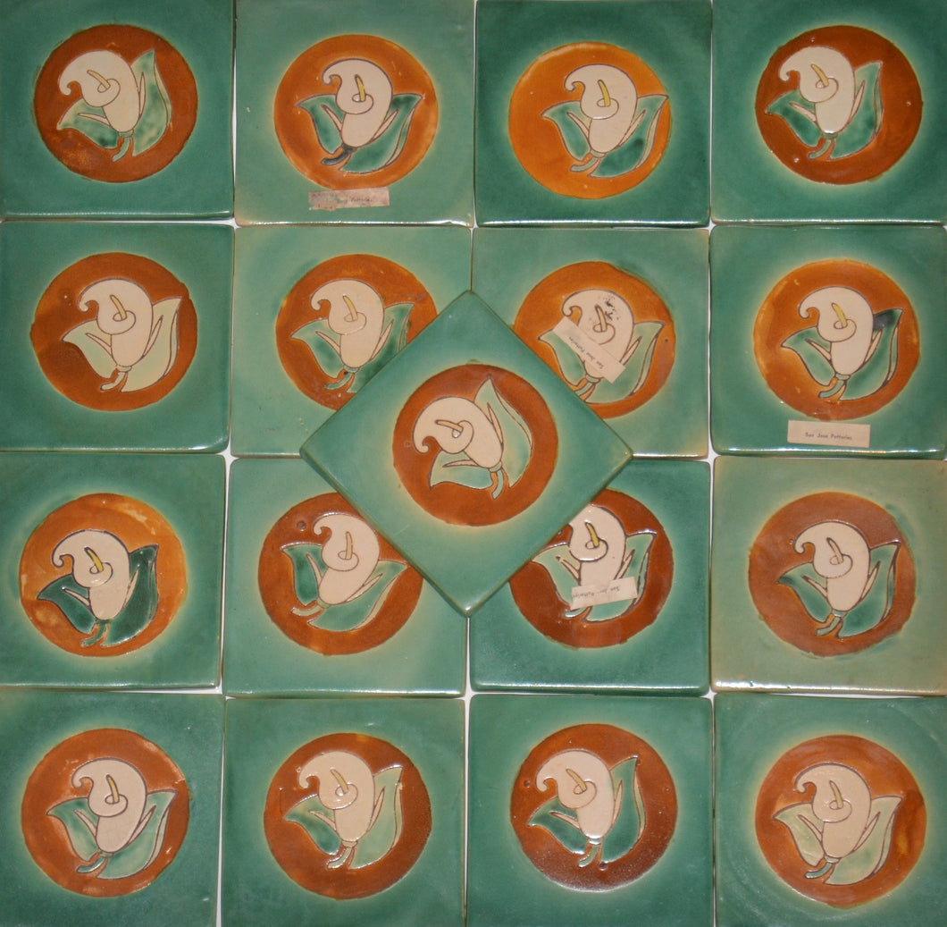 Set of 17 San Jose Potteries Calla Lily Artisan Tiles c. 1940's