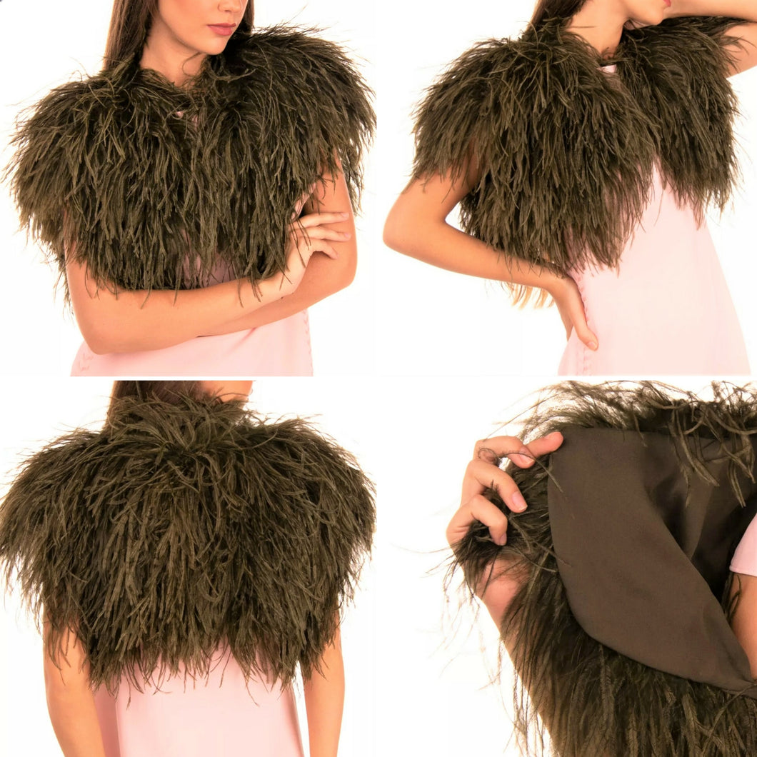 Rare Elie Saab Sequoia Ostrich Feather Bolero Vest with Silk Lining SZ 4