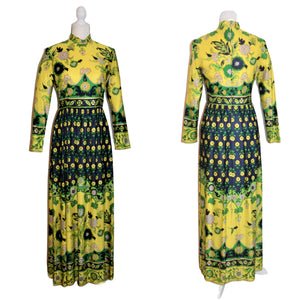 Vintage Carlye Maxi Hostess Dress Floral Motif