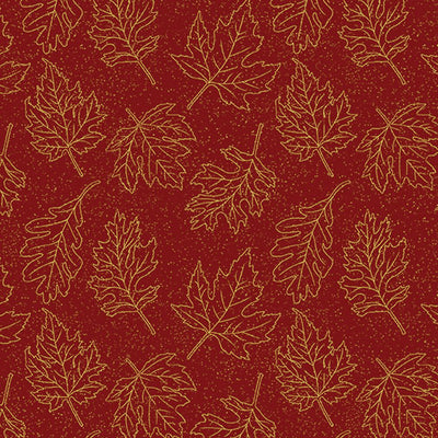Leaf Outline Gold Dark Red