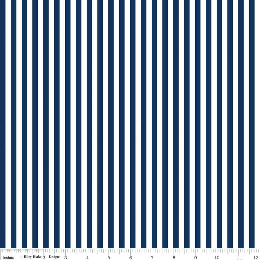 "Stripes 1/4"" Navy"