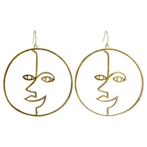 Sun God Wire Art Earring