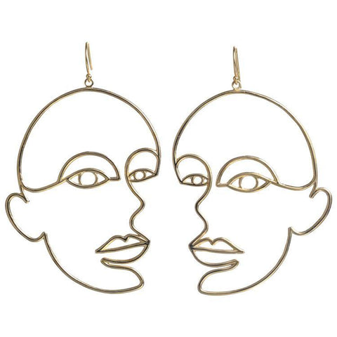 Woman Wire Art Earring