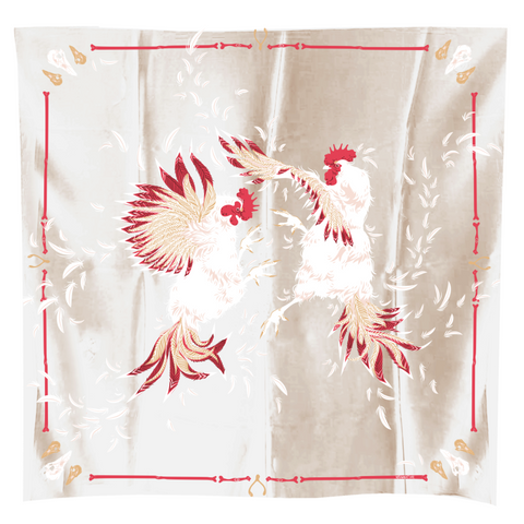 SCARF ROOSTER CROW COCKFIGHT cream