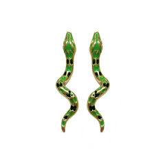 LUCKY GREEN SNAKE BITE STUDS