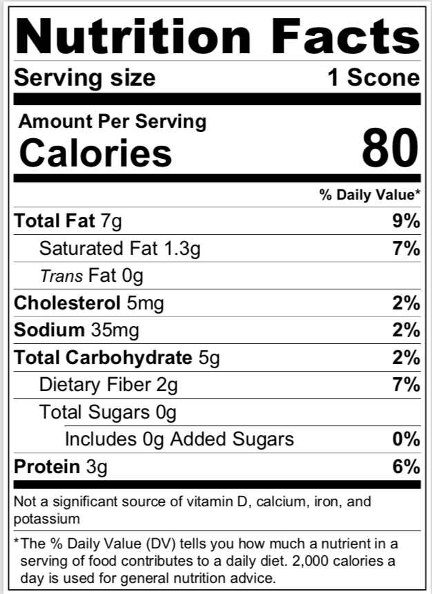 Almond Citrus Scones nutritional info