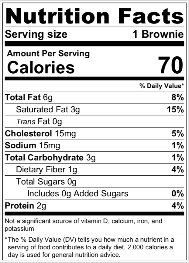 Brownie Bites nutritional info