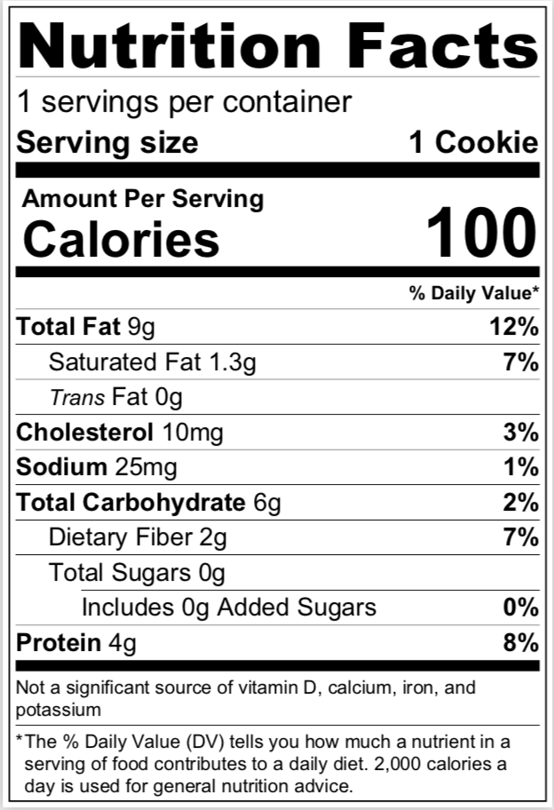 Chocolate Chunk Cookies nutritional info