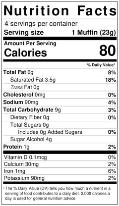 Java Chip Muffins nutritional info