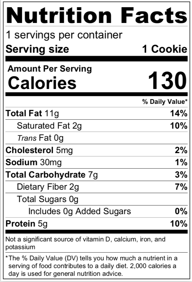 Peanut Butter Cookies nutritional info