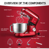 Cookmii Stand Mixer 1260W 5,5L Food Mixer With Bowl, Dough Blender,Dough Hook, Beater, Whisk, Noiseless Less Than 80db, Red