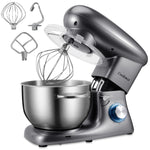 Cookmii Stand Mixer, Kitchen Food Stand 1500W  Food Processor, 6 Speed Settings ( 5.5L Stainless Steel Bowl,Beater, Hook, Whisk, Spatula)( British plug) - UK Standard Adaptor