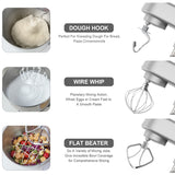 Cookmii Stand Mixer, 7.2 L Stainless Steel Mixing Bowl, 6 Speed 1800W Tilt-Head Food Mixer, Kitchen Electric Mixer with Dough Hook, Wire Whip & Beater (British plug)