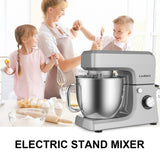 Cookmii Stand Mixer 1800W Professional Food Mixer Kitchen Cake Mixer Multi 6 Speeds with 6.5L Stainless Steel Bowl Dough Hook, Whisk & Beater Silver  ( British plug)