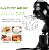 Stand Mixer, Cookmii Electric Food Mixer with 5.5 Quart Stainless Steel Bowl, 660W Tilt-Head Dough Mixer with Dough Hook,Whisk, Flat Beater, Pouring Shield,6-Speed (American plug)
