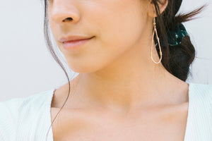 Haley Open Frame Vertical Drop Earrings in Rose Gold