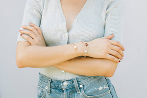 Haley Multicolor Pearl Bangle in Rose Gold