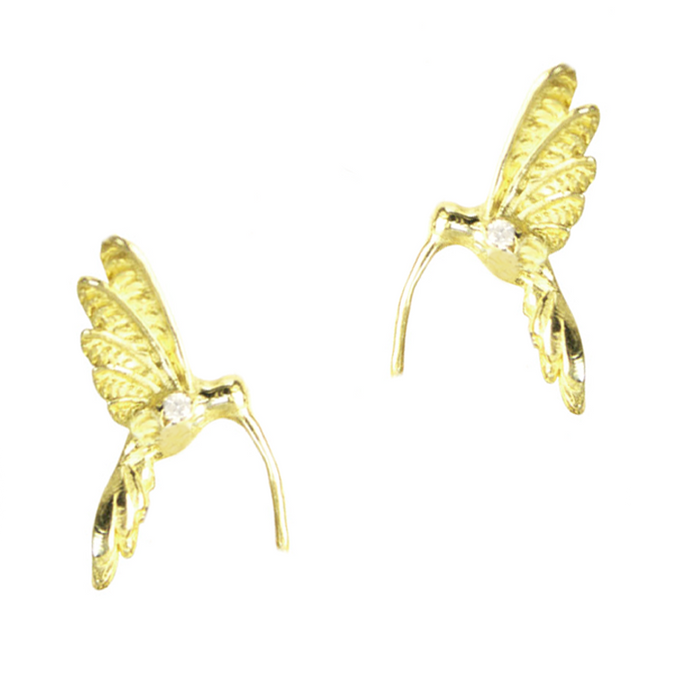 Delicate Hummingbird Stud Earrings