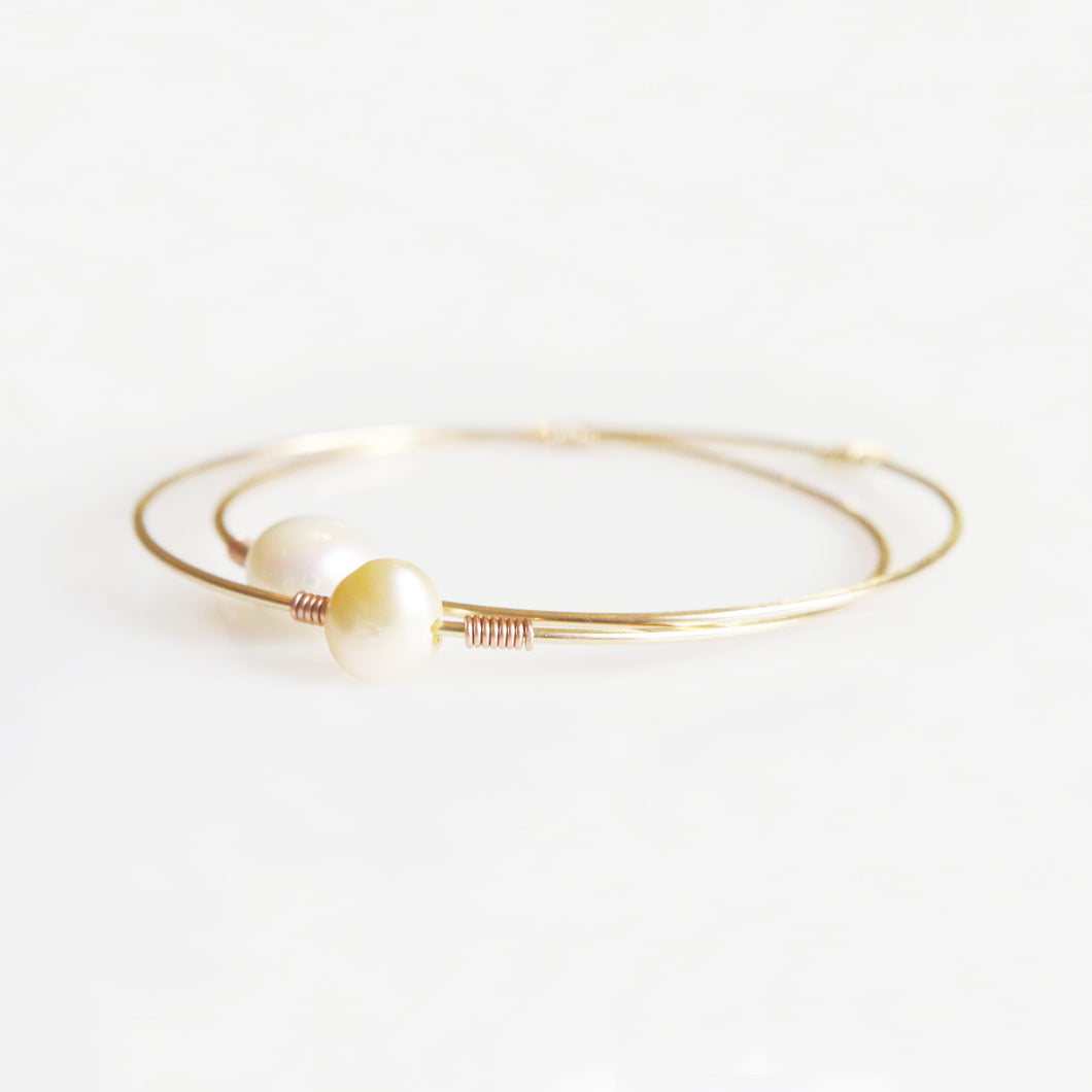 Haley White & Yellow Pearl Bangle in Rose Gold
