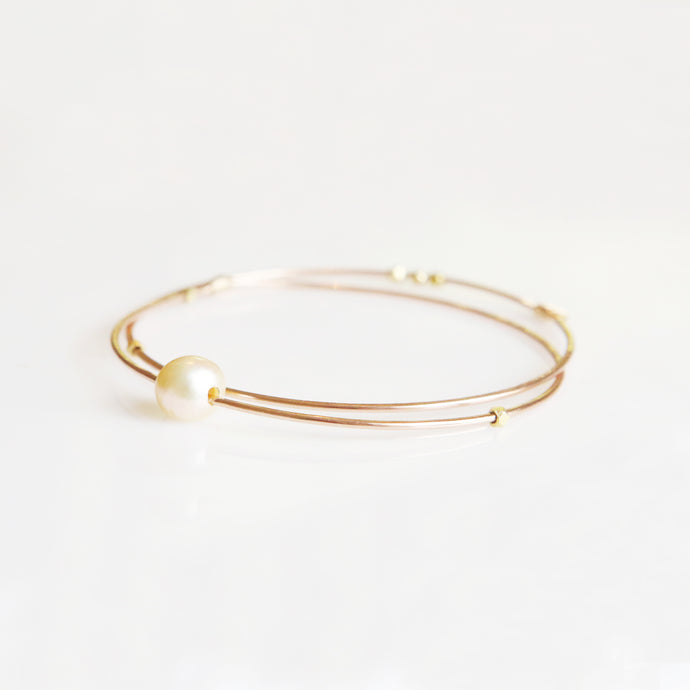 Haley White Pearl Bangle in Rose Gold