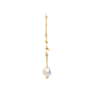 Gold Pearl Gemstone Drop Earrings